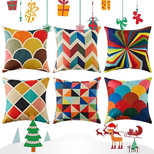 Topfinel federe cuscini geometric in cotone lino colorato quadrati decorativi in divano letto sedia set of 6,45x45 cm
