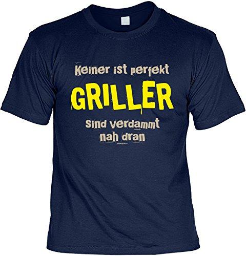 Grill/Spaß-Shirt/Fun-Shirt/Rubrik lustige Sprüche: Keiner ist perfekt Griller sind verdammt nah dran Navyblau