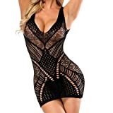 HCFKJ Dessous Erotik Damen Set Hot 2018 Transparente Bodystockings Bodycon Sexy Unterwäsche Kleid (Free, Black)