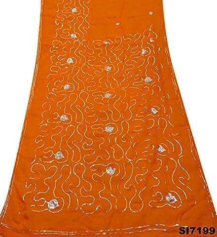 Women'S Fashion Saree Embroidered Sequins Work Sarong Orange Georgette Chiffon Wrap Veil Dress Art Décor DIY Craft Used Fabric Vintage Indian Ethnic Sari