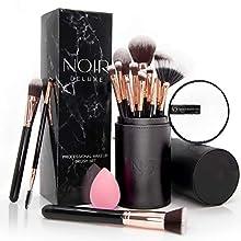 Noir Deluxe Lot de 14 pinceaux maquillages de qualité professionnelle, avec coton démaquillant réutilisable, beauty blender et porte-pinceaux (Rose Gold)