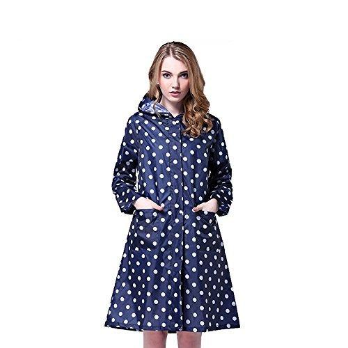 LOHOME Regenmantel der Dame, Damen Long Dot Style Wasserdicht Kapuze Regenmantel Kleidung reinwear Regen Jacke Quick Dry Wunderschöne Süße Wind Coat für Frauen Damen Mädchen Small Navy (Navy Blue Raincoat)