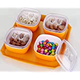 Serving Set With Lid And Tray/Snacker 4-Pieces Set/Fruit Box/Dry Fruit Container/Dry Fruit Jars Airtight Multipurpose Set By OM STAR