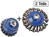 2 tlg Set Topfbürste 75mm + Kegelbürste 100mm M14 gezopft für Winkelschleifer Flex