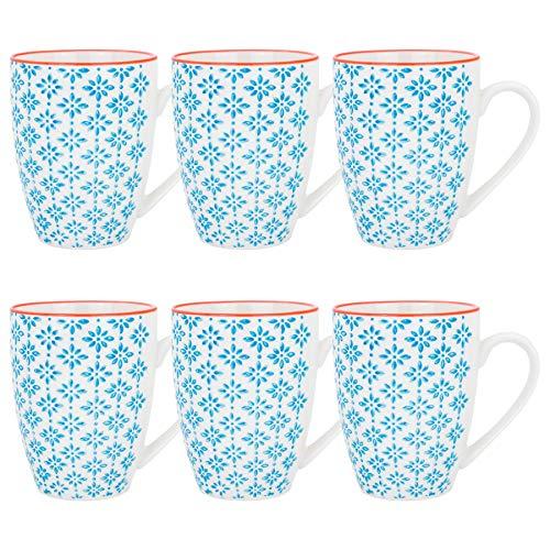Kaffeebecher/Teetassen - gemustert - 360 ml (12,7 oz.) - Blaues/orangefarbenes Printmuster - 6 Stück -