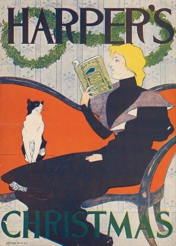 Fine art vintage con gatti c1894la signora con il gatto bianco e nero da harper da edward penfield lucida da 250g/mq, formato a3, poster