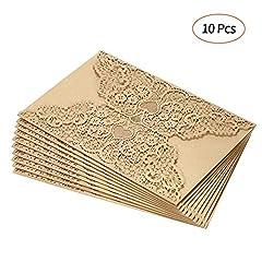 Idea Regalo - Decdeal Inviti Matrimonio,10pcs Carta Invito Carte per Invito a Nozze Titolari per la Festa di Compleanno di Nozze Anniversay - Bianco