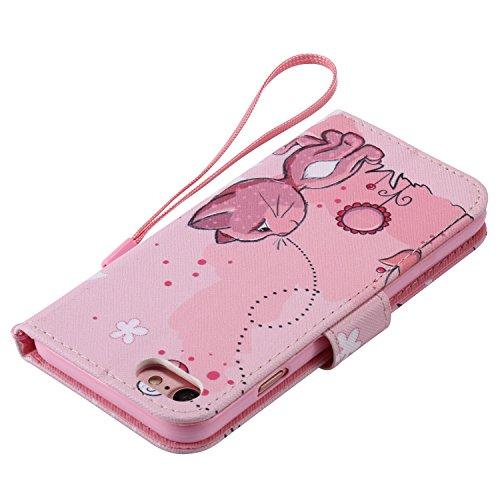 PU iPhone 7 (4.7 pouces) Motif Imprimé Étui Housse en Cuir Ultra-mince Fermeture Aimantée Housse de Protection Coque pour Apple iPhone 7 (4.7 pouces) Étui Case Cover avec Stand Support (+Bouchons de poussière) (5EE)