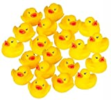 Scrox 20PCs Toys Mini Yellow Ducks Squeaky Rubber Cute Bath Toy Beach Toy Baby Shower Birthday Party Gift