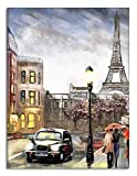 blitz versand germany  Paris Art Qualitätsbilder - Wand-Bild - Kunst, Gemälde, Foto, Paris auf Öl M15 Leinwand auf Rahmen 120 x 80 cm