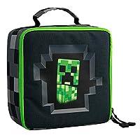 JINX Minecraft Creepy Creeper Insulated Kids School Lunch Box, Gray/Black, 8.5 inch x 8.5 inch x 4 inch