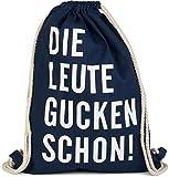 styleBREAKER Statement Turnbeutel mit 'DIE LEUTE GUCKEN SCHON!' Aufdruck, Rucksack, Sportbeutel, Beutel, Unisex 02012141, Farbe:Dunkelblau