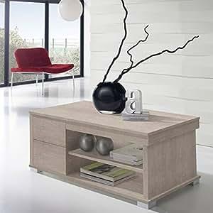 Table basse chêne clair relevable - NESE - L 110 x l 60 x H 44/58