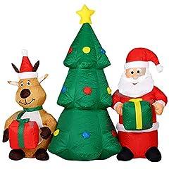 Idea Regalo - BAKAJI Gonfiabile Albero Di Natale Con Babbo Natale e Renna Con Luci a LED Altezza 150cm Sistema Autogonfiabile Kit Fissaggio Per Esterno Protezione IP44 Addobbo e Decorazione Natalizia