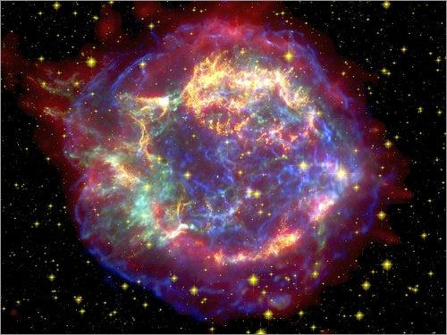 Posterlounge Leinwandbild 160 x 120 cm: Supernova Überrest Cassiopeia A von NASA/National Geographic - fertiges Wandbild, Bild auf Keilrahmen, Fertigbild auf echter Leinwand, Leinwanddruck