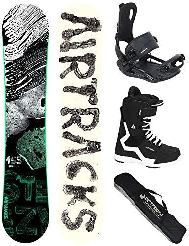 Airtracks Snowboard Set - Board STEEZY Wide 160 - Softbindung Master - Softboots Savage Black 45 - SB Bag