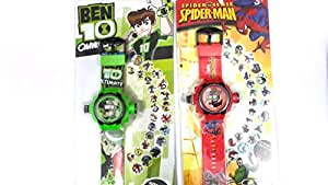 Combo Of Ben 10 And Spider Man 24 Images Projector Watch Cool Gift For Your Kid