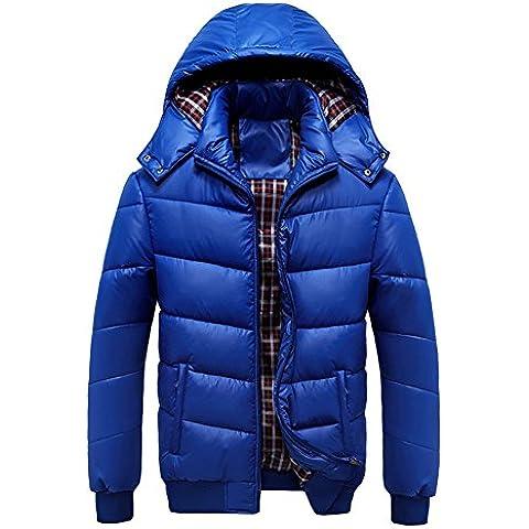 LaoZan Uomo Cappotto invernale Giacca con Cappuccio Parka Manica Lunga con Cerniera XXL Blu zaffiro