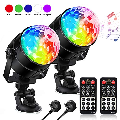 Disco Lights, SOLMORE Disco Ball Lights 2 Packs with Suction Mount Sound Activated Party Lights with 2 Remote Control for Kids Birthday, Family Gathering, Christmas Party etc
