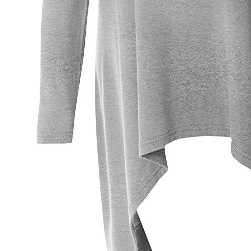 iShine Damen Bluse Kleider Langarmshirt Lockere Oberteile damen elegant Tops Basic Kleid tief Grau