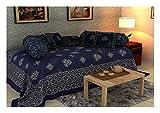 #7: Flying Colors 200 TC Cotton 8-Piece Single Dewan Set - Solid, Blue