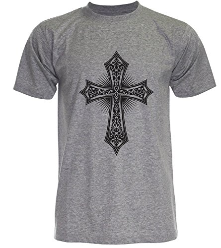 PALLAS Men's Orthodox Cross Symbols T Shirt Grey