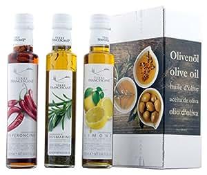 3er Probier-Paket Terre Francescane – Extra Natives Olivenöl Dressing mit Limonen, Rosmarin und Chili (3 x 250 ml)