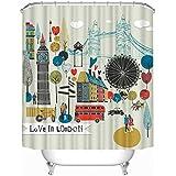 Arce & Home personalizado gran Bretaña impermeable cortina de ducha, 180x 180cm impermeable cortina de baño cortina de ducha de tela de poliéster de ducha cortinas con 12ganchos de plástico British Comics 71x 71inch