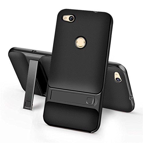 cover iPhone 7 morbido silicone Guscio Anti-drop Paraurti duro del PC pesante griglia Anti-impronta digitale supporto Custodia -Trasparente + grigio Griglia + nero opaco