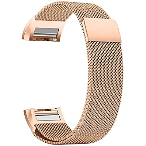 Per Fitbit Charge 2Band, Milanese Loop cinturino braccialetto in acciaio inox con unico magnete Lock, non necessita di fibbia per Fitbit Charge 2HR Fitness Tracker - Sterling Silver Dot Design