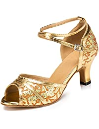 misu - Zapatillas de Danza para Mujer Dorado Dorado, Color Dorado, Talla 36