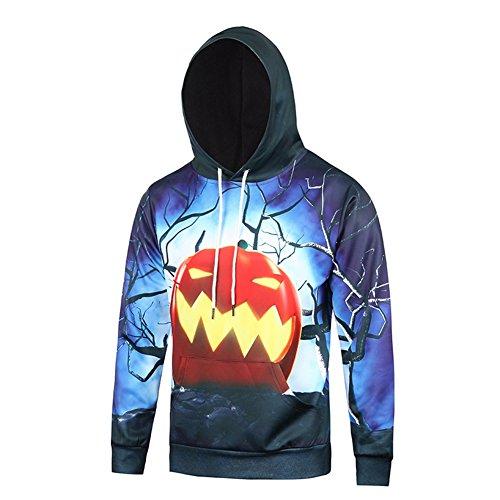SZIVYSHI Herren 3D Druck Muster Halloween Kapuzenpullover Hoodie Pullover Mit Kapuze Sweatjacke 3 Größe L