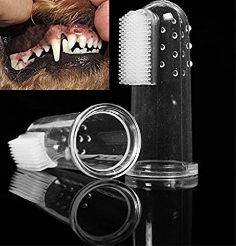 Idepet(TM) 2 Pcs Pet Dog Cat Finger Toothbrush Bad Breath Teeth Care Dental Hygiene Brushes for Small to Large Dogs
