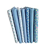 Topker 7pcs bleu série coton tissu fleur motif floral couture matériel textile pour bricolage patchwork literie...