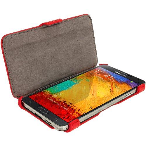 igadgitz U2623 Flip Eco Pelle Custodia Case Cover Protezione per Samsung Galaxy Note 3 III N900 - Rosso