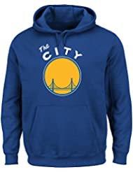 "Golden State Warriors Majestic NBA ""Felt Tek Patch"" Hooded SweatShirt Chemise"