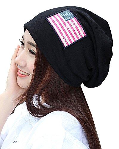 Kangqifen Damen Herren Beanie Mütze,Baumwolle Amerikanische Flagge Warme Wintermütze(Schwarz) (Mütze Quiksilver-gefütterte)