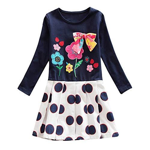 (JERFER Mädchen Crewneck Langarm Casual Karikatur Stickerei Party T-Shirt Kleid Kinderkleider Festliche 2-8 T/Jahre (Dunkelblau, 3T))