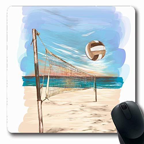 Luancrop Mauspads für Computer Bar Blau Sand Beach Volleyball Sketch Graphics Natur Sport Erholung Wasserball Volley Coast rutschfeste, längliche Gaming-Mausunterlage
