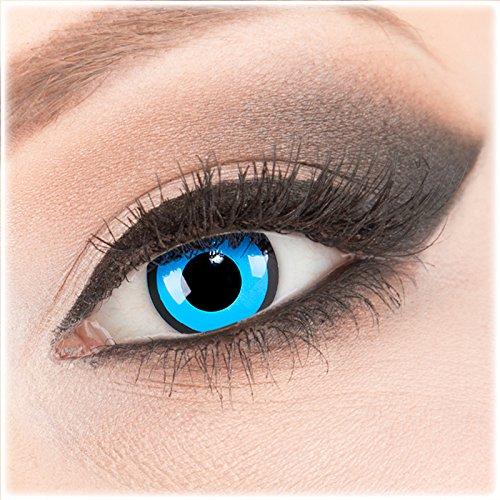Engel Und Helle Kostüm Dunkle - Farbige blaue Crazy Fun Kontaktlinsen 1 Paar blau 'Black Blue' mit Kombilösung (60ml) + Behälter - Topqualität von 'Evil Lens' zu Fasching Karneval Halloween ohne Stärke