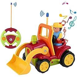 OCDAY Voiture Télécommandée 2 Canaux RC Véhicule de Construction Jouets avec Musique et Lumières Cadeau pour Bébés et Enfants (Véhicule de Construction)
