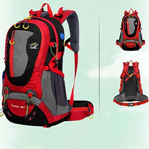 borsa a tracolla genuino grande viaggio capienza con lo zaino di viaggio supporto svago uomini e donne di sport all'aria aperta alpinismo borse 40L rosso