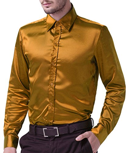 Paul Jones® Herren Hemd Langarmhemd Slim Fit Kentkragen Freizeit Tanz Hemd CL5250 Goldgelb