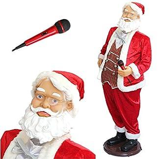 lux.pro Papá Noel – Karaoke – 150cm con micrófono. Canta, baila y mueve la boca – Navidad