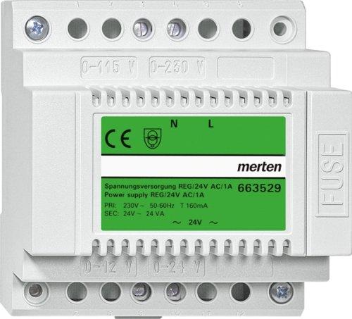 Merten 663529 Spannungsversorgung REG, AC 24 V/1 A, lichtgrau