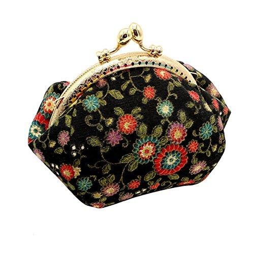 HeySun Mädchen-Geldbörse mit Blumenmuster, Kiss-Lock Münzfach für Damen -