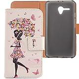 Lankashi PU Flip Leder Tasche Hülle Case Cover Schutz Handy Etui Skin Für Alcatel One Touch Pop 3 5025D 5.5