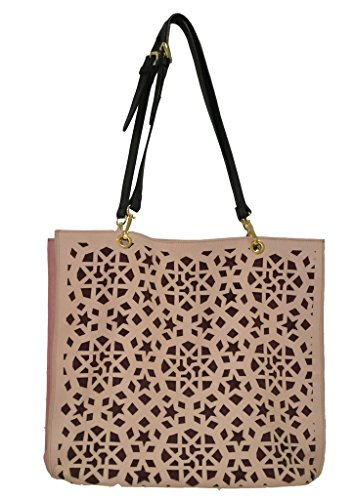 Paint Geunine Leather Vintage Rose Pink Laser Cut Tote Bag