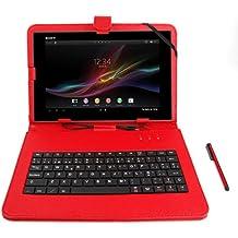 DURAGADGET Funda / Teclado Color ROJO En ESPAÑOL Con Letra Ñ Para Sony Xperia Z2 Con Conexión MicroUSB + Lápiz Stylus - Función Atril