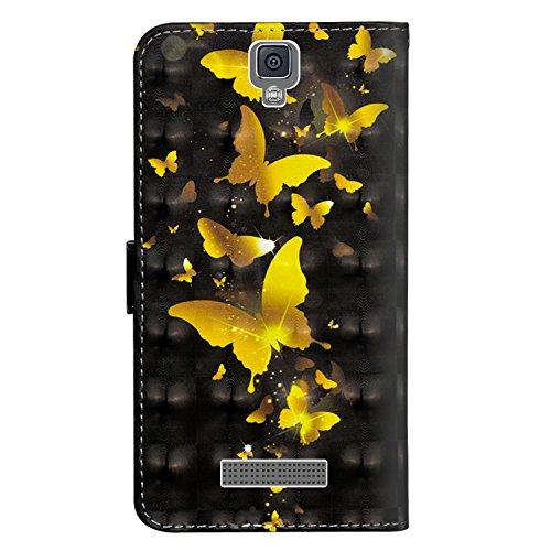sinogoods Für ZTE Blade L5 / L5 Plus Hülle, Premium PU Leder Schutztasche Klappetui Brieftasche Handyhülle, Standfunktion Flip Wallet Case Cover - Goldener Schmetterling